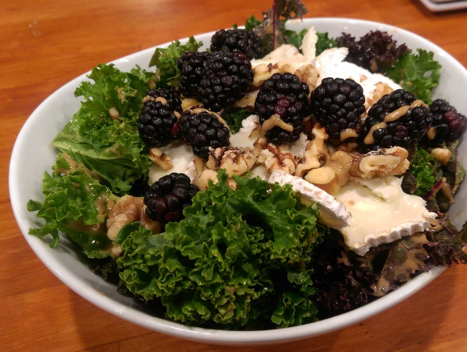 Kale Salad with Blackberries Goat Cheese & Walnut