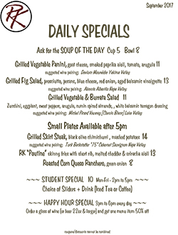 Daily Specials Menu at Rustic Kitchen