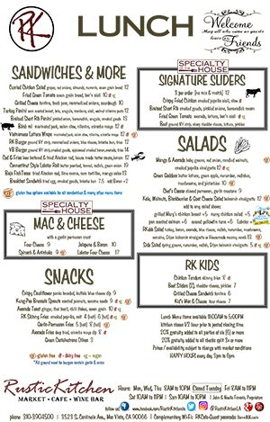 Rustic Kitchen Lunch Menu
