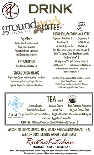 Rustic Kitchen Drink Menu
