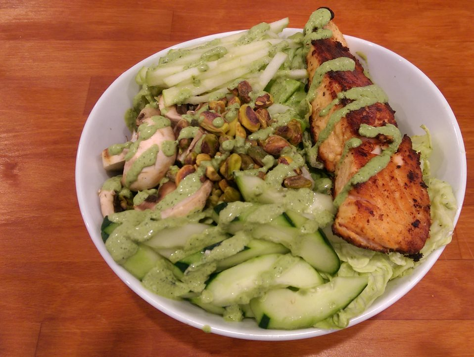 Green Goddess Salad with Pan Roasted Salmon