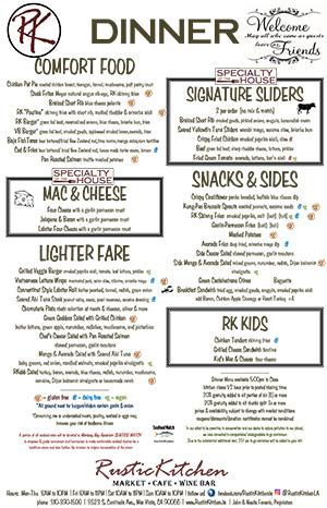 Dinner menu image linked to PDF