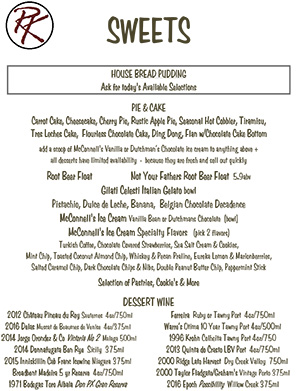Dessert menu image linked to PDF